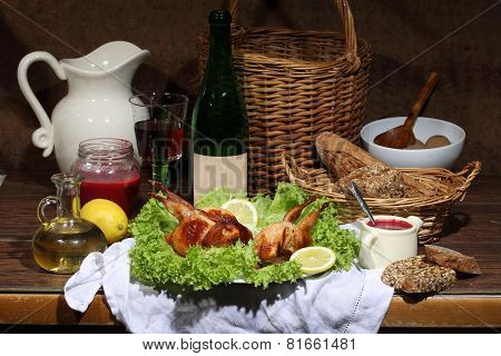 Has sung submitted on leaves of green salad with cowberry sauce bread and red wine poster