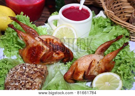Has sung submitted on leaves of green salad with cowberry sauce and bread poster