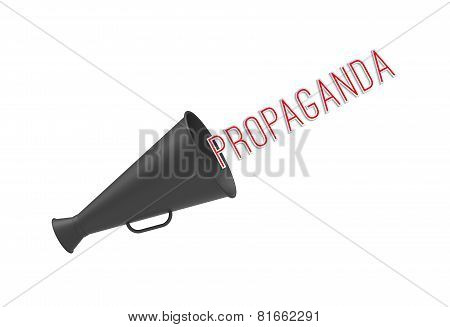 Megaphone on simple white background with pop-up caption 'Propaganda'. Concept of call-for-action aggressive promotion and mass media manipulations. poster