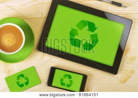 Tablet Computer, Mobile Phone And Business Card For Recycling Company