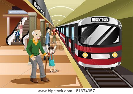 A vector illustration of people waiting in a train station poster