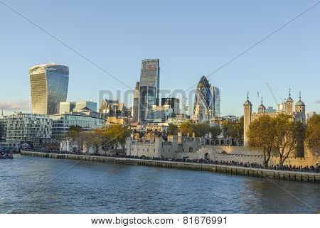 view to London from river Thames