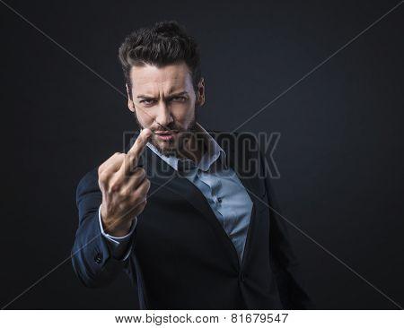 Man Showing Off Middle Finger