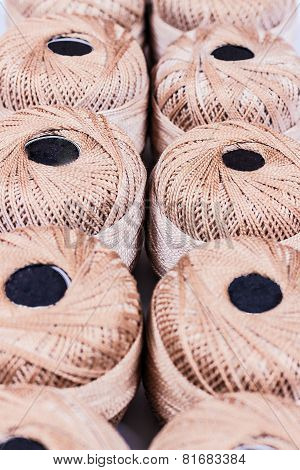 Cotton Spool On Rows In The Store