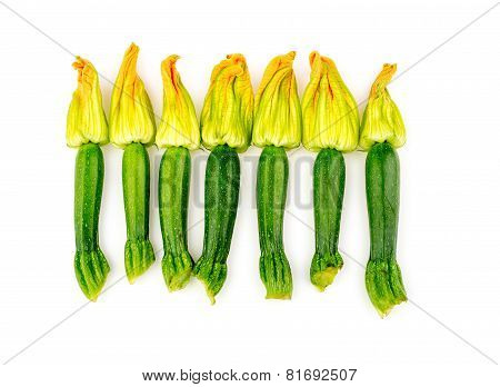 Group Of Zucchini Flowers Studio Top Shot