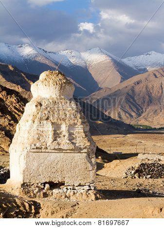 Buddhist Stupas Near The Shey Monastery Against The Himalayas Mountains