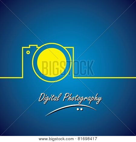 Line Vector Icon Of Digital Camera In Yellow Color
