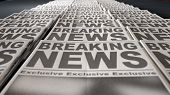 A long row of folded newspapers at the end of a press run with a generic headline that reads breaking news on the front page on an isolated white background poster