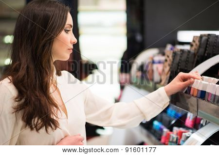 Portrait of a woman shopping in a beauty shop