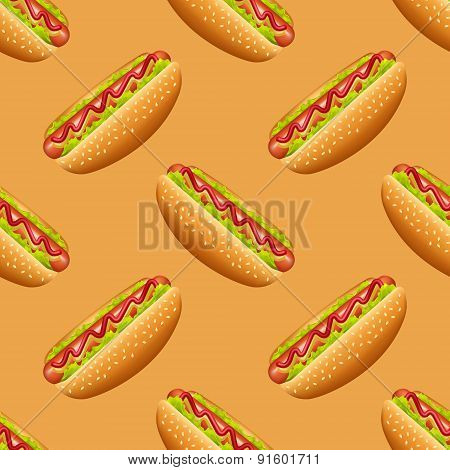 Seamless pattern with hot-dog