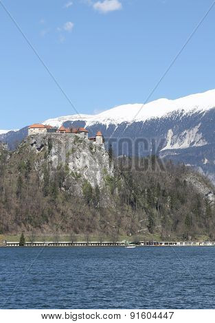 Ancient Castle On The Hill Near The Lake Bled In Slovenia