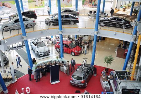 MOSCOW - MAY 14, 2014: Exhibition of cars in dealership Mercedes-Benz Avilon in Moscow