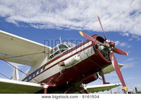 Closeup of airplane