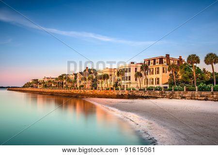 Charleston, South Carolina, USA at the historic homes on The Battery.