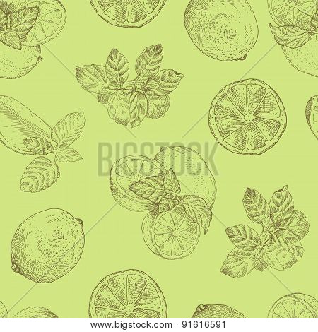 Lime and mint seamless pattern