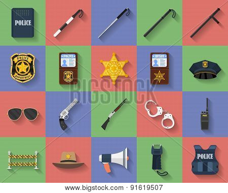 Icon set of police regimentals, uniform, weapons, accessories. Flat style poster