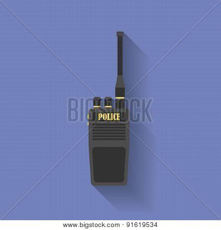 Icon of Police radio. Flat style