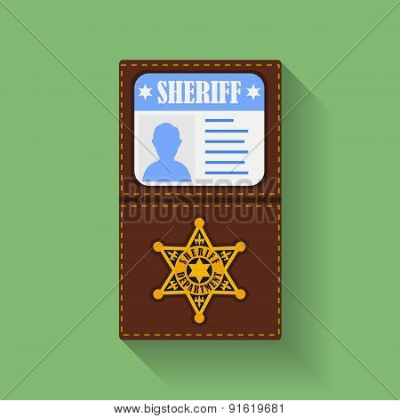 Icon of Sheriff Badge With Id Case, holder. Flat style