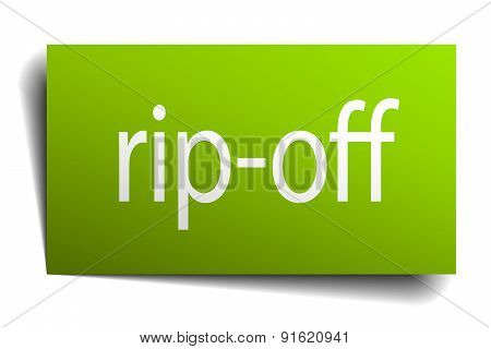 Rip-off Square Paper Sign Isolated On White
