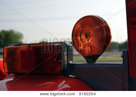 Tractor With Tail Lights and Caution Light