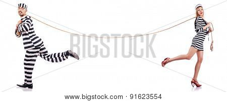 Convicted man and seaman girl isolated on white