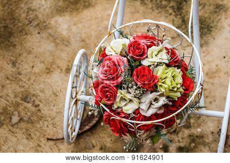 Bouquet Of Flowers On A Bike