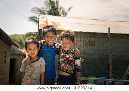 Smiling Cute Young Boys In Slum, Indonesia