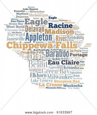 Word Cloud in the shape of Wisconsin showing some of the cities in the state
