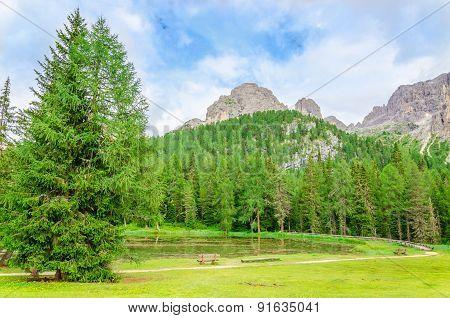 Mountain landscape in Sexten Dolomites, Italy
