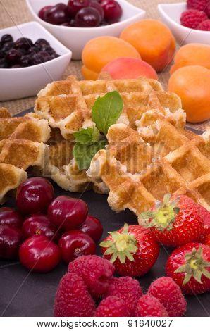 Belgian Waffles and Fresh Summer Fruit