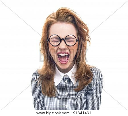 Screaming Geek Or Loony Girl Isolated On White. Angry Young Woman With Closed Eyes Shout.
