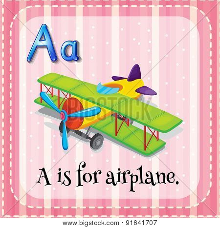 Flashcard letter A is for airplane