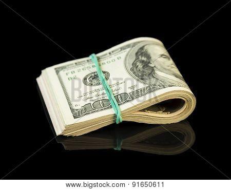 Dollar bills rolled up
