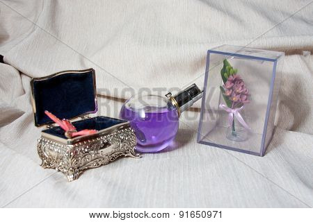 Old silver metallic retro casket over white background with reflection