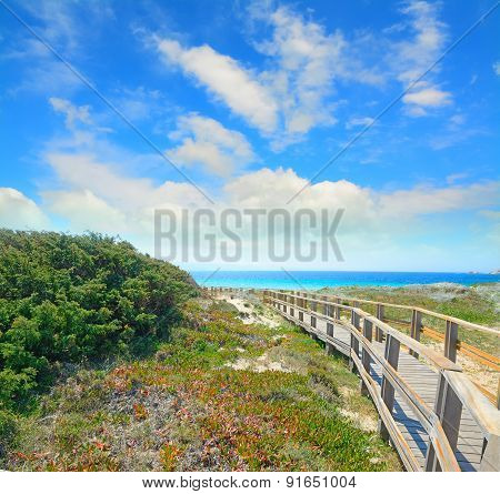 Boardwalk Under A Cloudy Sky In Capo Testa