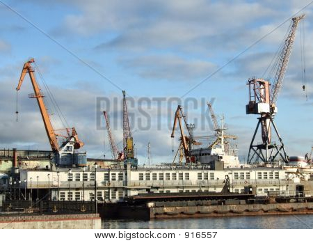 Busy Seaport - Cargo Cranes