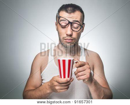 Funny Sleepy Man With Cup Coffee