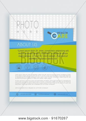 Stylish Health Care template, brochure or flyer presentation with place holder for professional content.