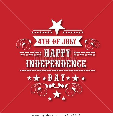 4th of July, American Independence Day celebration poster, banner or flyer design on red background.