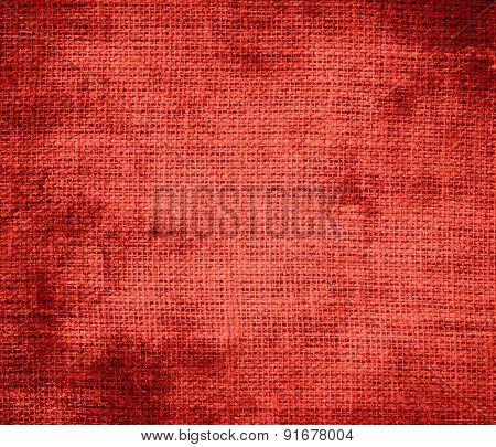 Grunge background of cinnabar burlap texture