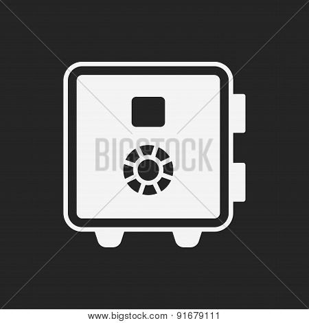 Safety Deposit Box Icon, illustration vector eps , black and line icon poster