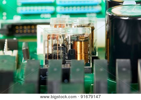 Green electronic microscheme with electrical elements, background