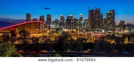 Sunset over Calgary's skyline