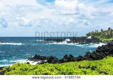 The coast along the Road to Hana, Maui