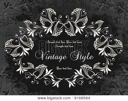 dark vintage frame with flowers