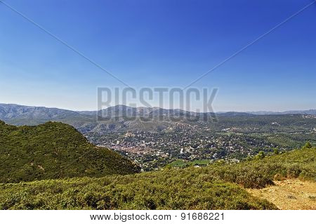 View to Cassis Provence Cote d`Azur from mountains in summer poster