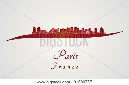 Paris V2 Skyline In Red