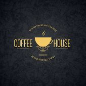 Vintage logotype for coffee house, cafeteria, bars, restaurant, tea shop poster