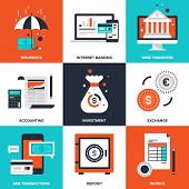 Vector set of flat banking and finance icons on following themes - insurance, internet banking, wire transfers, accounting, investment, exchange, sms transactions, deposit, invoice poster