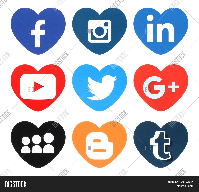 Kiev ukraine april 09 2016 image photo bigstock kiev ukraine april 09 2016 collection of popular heart shape social media logos printed biocorpaavc Image collections